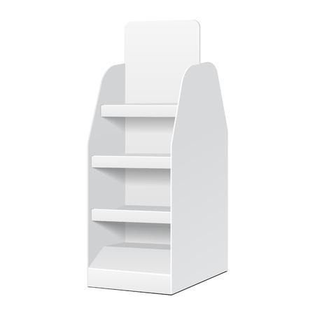 흰색 배경에 선반 제품과 화이트 POS POI 골판지 빈 빈을 표시입니다. 디자인을위한 준비. 제품 포장. 벡터 eps10 일러스트