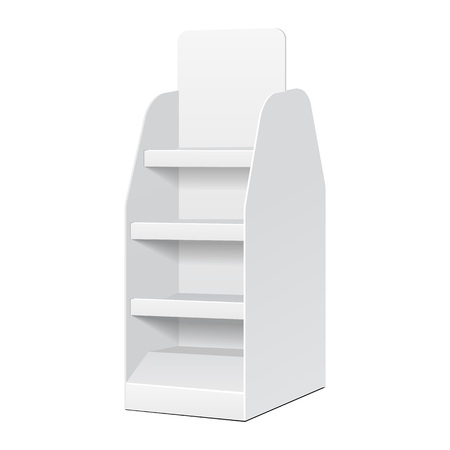 display: White POS POI Cardboard Blank Empty Displays With Shelves Products On White Background Isolated. Ready For Your Design. Product Packing. Vector EPS10