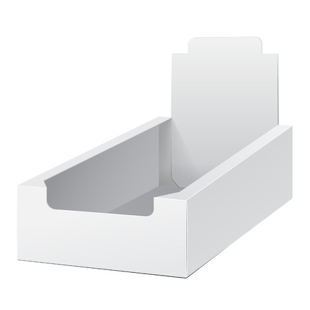 product display: White Holder Box POS POI Cardboard Blank Empty Displays Products On White Background Isolated. Ready For Your Design. Product Packing. Vector EPS10 Illustration