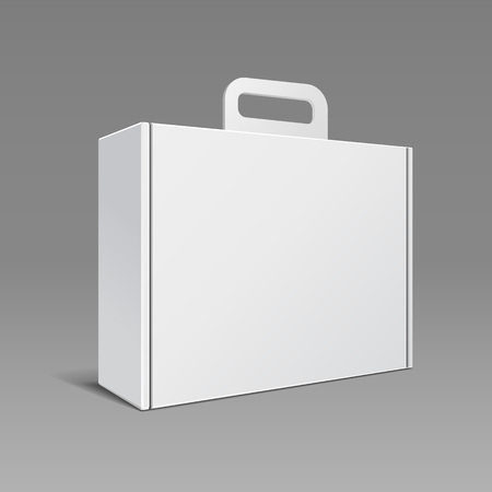 product packaging: Carton Or Plastic White Blank Package Box With Handle. Briefcase, Case, Folder, Portfolio Case. Ready For Your Design. Product Packing Vector EPS10