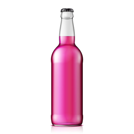 clean up: Mock Up Glass Raspberry Strawberry Cherry Lemonade Cola Clean Bottle Pink On White Background Isolated. Ready For Your Design. Product Packing. Vector EPS10
