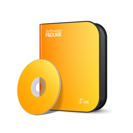 software package: White Yellow Orange Rounded Modern Software Package Box With DVD, CD Disk Or Other Your Product EPS10