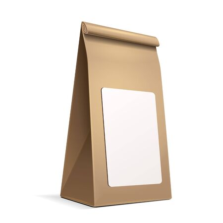 mocca: Slim Paper Bag Package With White Label Sticker Of Coffee, Salt, Sugar, Pepper, Spices Or Flour, Filled, Folded, Close, Brown. Ready For Your Design. Snack Product Packing Vector EPS10 Illustration