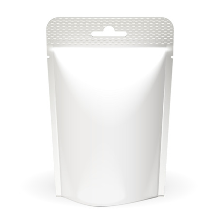 white blank: White Mock Up Blank Foil Food Or Drink Doypack Bag Packaging. Plastic Pack Template On White Background Isolated. Ready For Your Design. Vector EPS10 Illustration