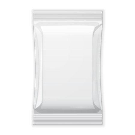 sachet: White Blank Foil Food Snack Sachet Bag Packaging For Coffee, Salt, Sugar, Pepper, Spices, Sachet, Sweets, Chips, Cookies Or Candy. Plastic Pack Template Ready For Your Design. Vector EPS10 Illustration