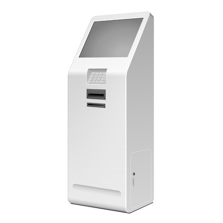 terminals: 3D Outdoor White Metal ATM, Automated Teller Machine, Payment Terminal, Advertising Stand On White Background. Illustration Isolated On White Background. Vector EPS10 Illustration