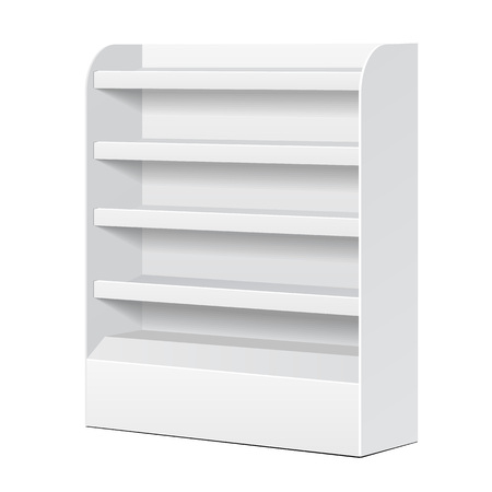 store display: White POS POI Cardboard Blank Empty Displays With Shelves Products On White Background Isolated. Ready For Your Design. Product Packing. Vector EPS10
