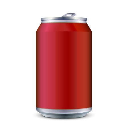 can: Red Metal Aluminum Beverage Drink Can 330ml. Ready For Your Design. Product Packing Vector EPS10