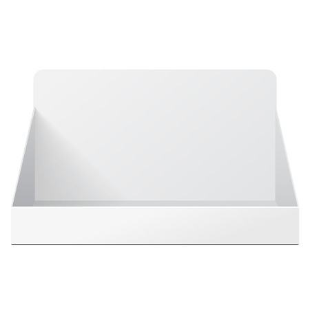 displays: White Holder Box POS POI Cardboard Blank Empty Displays Products On White Background Isolated. Ready For Your Design. Product Packing. Vector EPS10 Illustration