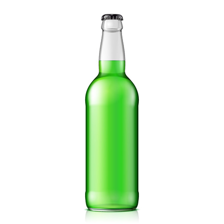clean up: Mock Up Glass Clean Bottle Green On White Background Isolated. Ready For Your Design. Product Packing. Vector EPS10