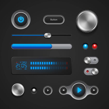 interface elements: Hi-End User Interface Elements: Buttons, Switchers, On, Off, Player, Audio, Video: Play, Stop, Next, Pause, Volume, Equalizer, Power, Screen, Track Illustration