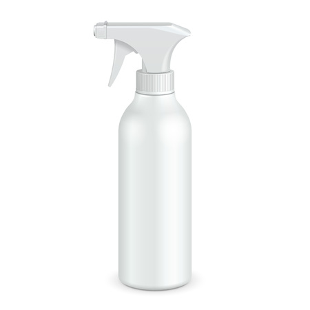 grease: Spray Pistol Cleaner Plastic Bottle White. Illustration Isolated On White Background. Ready For Your Design. Product Packing. Vector EPS10EPS10