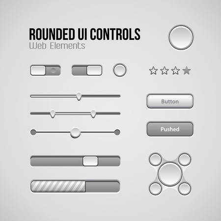knobs: Web UI Controls Design Elements: Buttons, Switchers, On, Off, Player, Audio, Video: Play, Stop, Next, Pause, Volume, Equalizer, Knobs, Navigation Bar, Progress Bar, Search, Drop-down