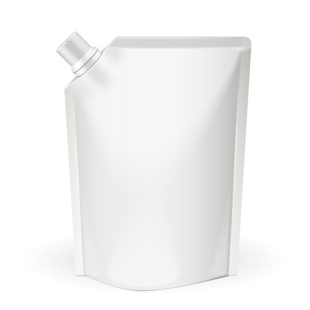 spout: White Blank, Food Bag Packaging With Spout Lid. Products On White Background Isolated. Ready For Your Design. Product Packing. Vector EPS10