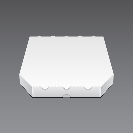 paper case: White Blank Carton Pizza Box. Ready For Your Design. Product Packing Vector EPS10 Illustration