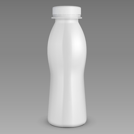 3D White Yogurt Milk Plastic Bottle. Ready For Your Design. Product Packing. Vector EPS10