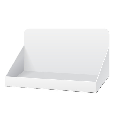 White POS POI Cardboard Blank Empty Displays With Shelves Products On White Background Isolated. Stock Illustratie