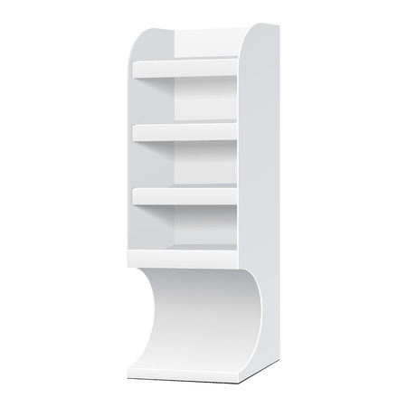 displays: White POS POI Cardboard Blank Empty Displays With Shelves Products On White Background Isolated. Illustration