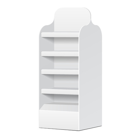 White POS POI Cardboard Blank Empty Displays With Shelves Products On White Background Isolated.