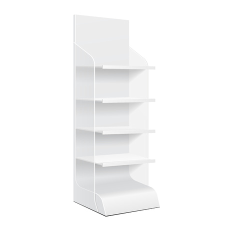 White POS POI Cardboard Blank Empty Displays With Shelves Products On White Background Isolated. Vectores