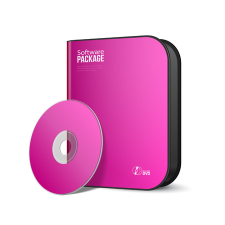 software package: White Pink Violet Purple Rounded Modern Software Package Box With DVD, CD Disk
