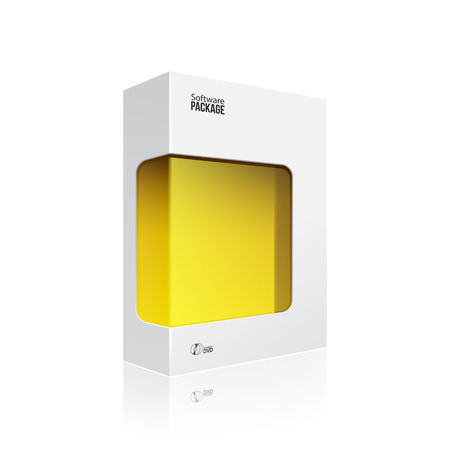 dvd box: Black Modern Software Product Package Box With Yellow Window For DVD Or CD Disk