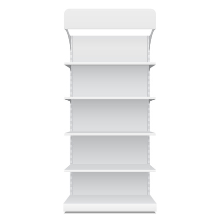 White Blank Empty Showcase Displays With Retail Shelves Front View 3D Products On White Background Isolated.  Vectores
