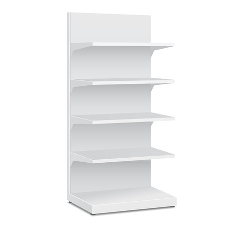 White Blank Empty Showcase Displays With Retail Shelves Products On White Background Isolated. Ready For Your Design.