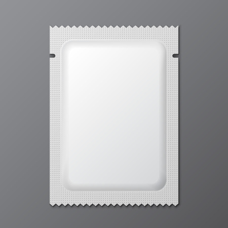 vacuum: White Blank Retort Condom Wrapper. Foil Pack Template Ready For Your Design.