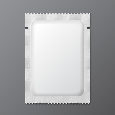 condom: White Blank Retort Condom Wrapper. Foil Pack Template Ready For Your Design.