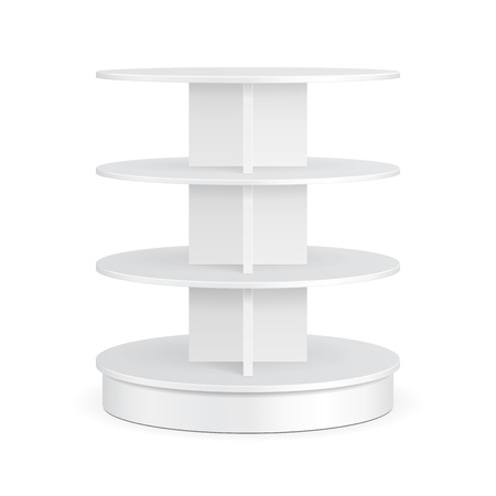 White Round POS POI Cardboard Floor Display Rack For Supermarket Blank Empty Displays With Shelves Products On White Background Isolated.