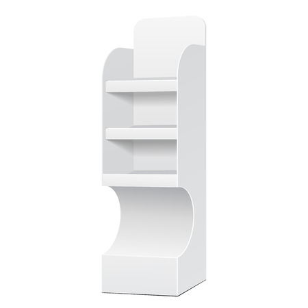 poi: White POS POI Cardboard Floor Display Rack For Supermarket Blank Empty Displays With Shelves Products On White Background Isolated. Ready For Your Design. Product Packing. Vector EPS10