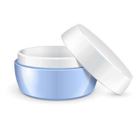 plastic box: Opened Empty Cream, Gel Or Powder, Light Blue Jar Can Cap Bottle. Blank On White Background Isolated. Ready For Your Design. Product Packing Vector EPS10