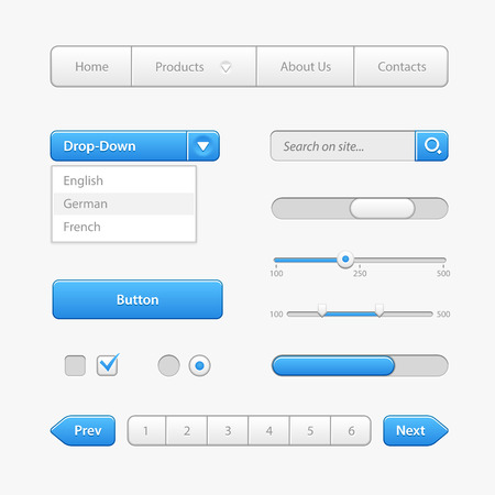 Los controles de interfaz de usuario luz azul. Elementos web. Página web, la interfaz de usuario del software: botones, conmutadores, flechas, desplegable, navegación, menú, Casilla de verificación, Radio, rueda de desplazamiento, barra de progreso, paginación, entrada Buscar