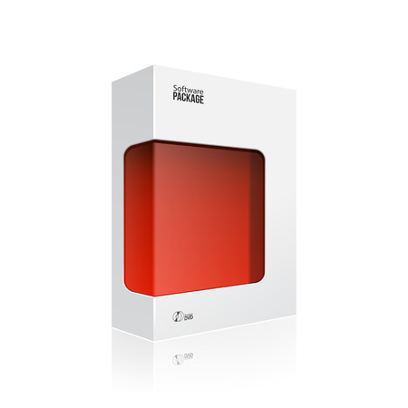 product packaging: White Modern Software Product Package Box With Red Window For DVD Or CD Disk EPS10