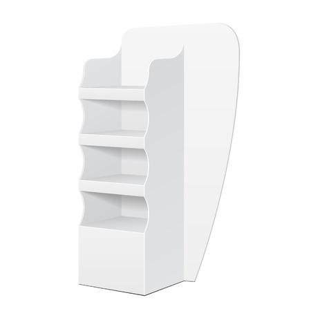 Scaffale di esposizione bianco del pavimento del cartone di POI di posizione per il supermercato Esposizioni vuote in bianco con i prodotti degli scaffali su fondo bianco isolato. Pronto per il tuo design. Imballaggio del prodotto. Vector EPS10