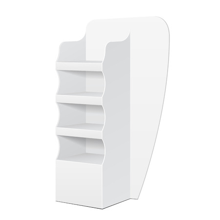 single shelf: White POS POI Cardboard Floor Display Rack For Supermarket Blank Empty Displays With Shelves Products On White Background Isolated. Ready For Your Design. Product Packing. Vector EPS10