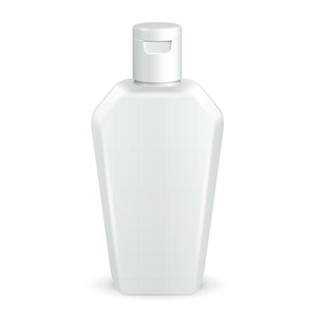 jabon liquido: Cosmética, higiene, medicina Botella de plástico blanco de escala de grises de gel, jabón líquido, loción, crema, champú. Listo para su diseño. Ilustración sobre fondo blanco. Ilustración de EPS10