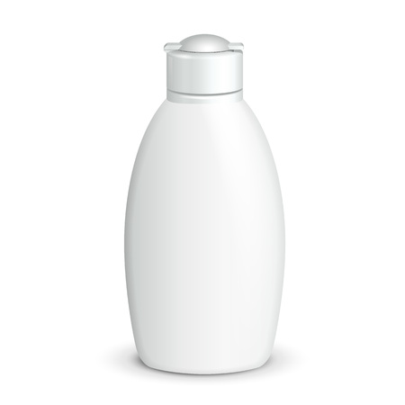 foam: Cosmetic, Hygiene, Medical Grayscale White Plastic Bottle Of Gel, Liquid Soap, Lotion, Cream, Shampoo. Ready For Your Design. Illustration Isolated On White Background. Vector EPS10 Illustration