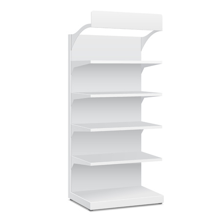 White POS POI Cardboard Blank Empty Displays With Shelves Products On White Background Isolated. Ready For Your Design. Product Packing. Vector EPS10 Imagens - 50354717