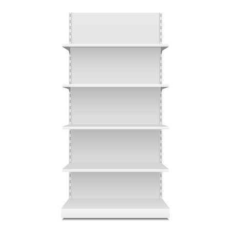 displays: White Blank Empty Showcase Displays With Retail Shelves Front View 3D Products On White Background Isolated. Ready For Your Design. Product Packing. Vector EPS10