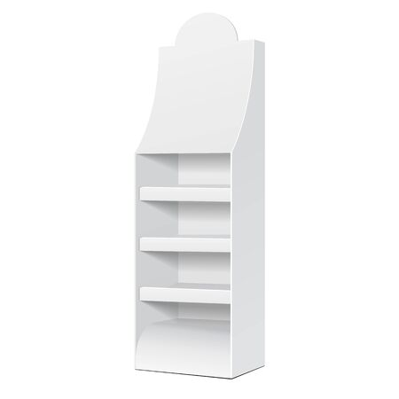 product display: White POS POI Cardboard Floor Display Rack For Supermarket Blank Empty Displays With Shelves Products On White Background Isolated. Ready For Your Design. Product Packing. Vector EPS10
