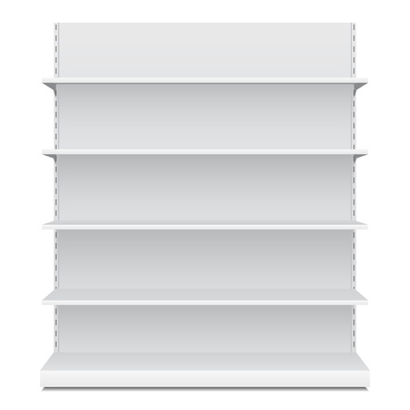 White Long Blank Empty Showcase Displays With Retail Shelves Front View 3D Products On White Background Isolated. Ready For Your Design. Product Packing. Vector EPS10