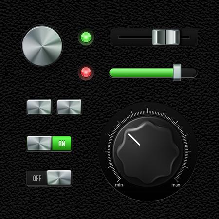 Hi-End UI Analog Volume Equalizer, Level Mixer, Volume Knob Chrome. Metal Switch Button, Lamp, Bulb, Progress Bar. Web Design Elements. Software Controls. Vector User Interface EPS10