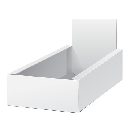 White Display Holder Box POS POI Cardboard Blank Empty. Products On White Background Isolated. Ready For Your Design. Mockup Product Packing. Vector EPS10