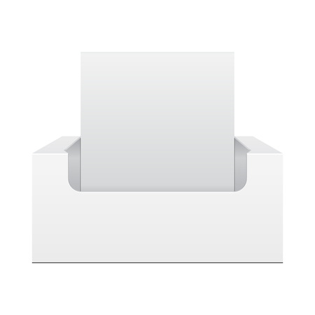 White Display Holder Box POS POI Cardboard Blank Empty, Front View. Products On White Background Isolated. Ready For Your Design. Mockup Product Packing. Vector EPS10 Stock Illustratie