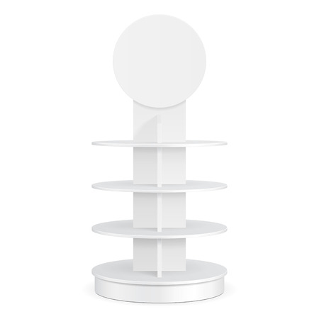 product display: White Round POS POI Cardboard Floor Display Rack For Supermarket Blank Empty Displays With Shelves Products On White Background Isolated. Ready For Your Design. Product Packing. Vector EPS10 Illustration