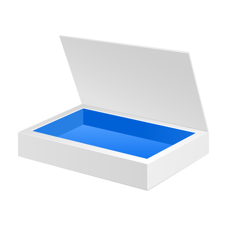 packaging box: Opened White Blue Cardboard Package Box. Gift Candy. On White Background Isolated. Ready For Your Design. Product Packing Vector EPS10 Illustration