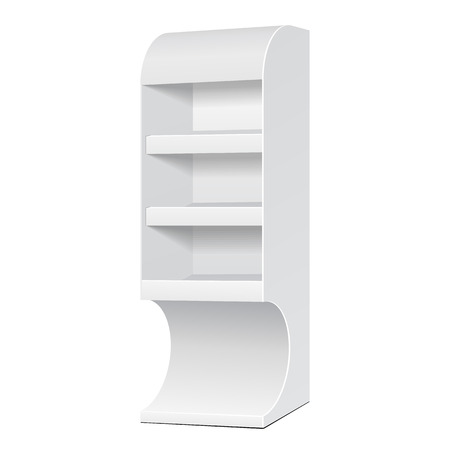 displays: White POS POI Cardboard Floor Display Rack For Supermarket Blank Empty Displays With Shelves Products On White Background Isolated. Ready For Your Design. Product Packing. Vector EPS10