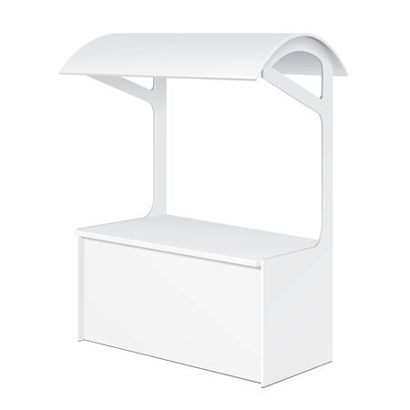 selling points: White POS POI Blank Empty Retail Stand Stall Bar Display With Roof, Canopy. On White Background Isolated. Mock Up Template Ready For Your Design. Product Packing Vector EPS10